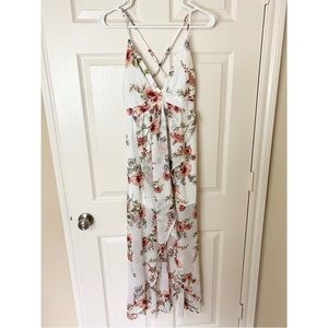Forever 21 Floral Maxi Waterfall Evening Dress